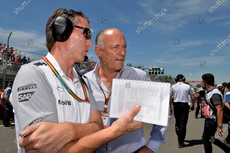 (L to R): Sam Michael (AUS) McLaren Sporting Director and Ron Dennis (GBR) McLaren Executive Chairman on the grid. Formula One World Championship, Rd7, Canadian Grand Prix, Race Day, Montreal, Canada, Sunday 8 June 2014.
