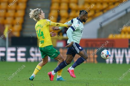 Todd Cantwell of Norwich City (14) and Leandro Bacuna of Cardiff City (7)