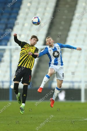 James Garner of Watford and Huddersfield's Lewis O'Brien