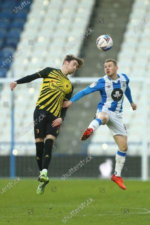 Stock Image of James Garner of Watford and Huddersfield's Lewis O'Brien