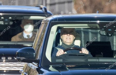 Prince Andrew leaves Windsor Castle after a morning ride.
