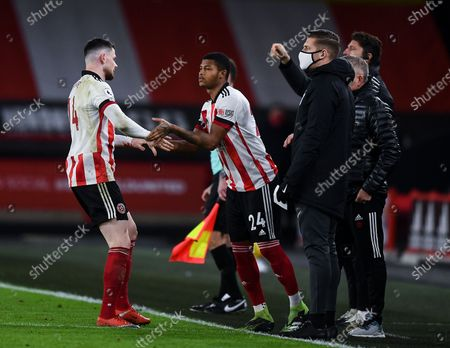 Oliver Burke of Sheffield United is substituted for Rhian Brewster of Sheffield United
