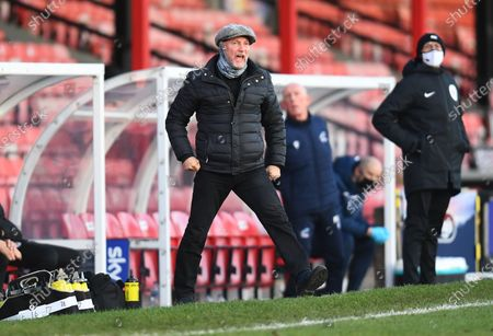 Stock Photo of Ian Holloway manager of Grimsby Town shouts from the touchline