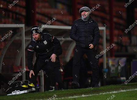 Ian Holloway manager of Grimsby Town gets animated on the touchline