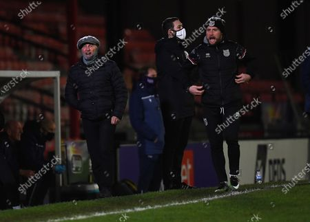 Stock Image of Ian Holloway manager of Grimsby Town gets animated on the touchline