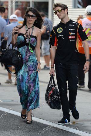 Romain Grosjean (FRA) Lotus F1 and wife Marion Jolles (FRA). Formula One World Championship, Rd11, Hungarian Grand Prix, Qualifying, Hungaroring, Hungary. Saturday 26 July 2014.