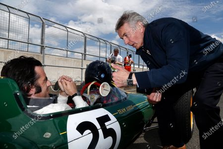 Dario Franchitti (GBR) lotus 25 and Tony Jardine (GBR) at the Legends Parade. Formula One World Championship, Rd9, British Grand Prix, Practice, Silverstone, England, Friday 4 July 2014.