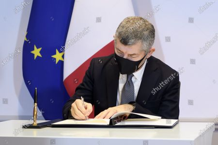 Ivan Scalfarotto, Italian Undersecretary for Foreign Affairs, signs a bilateral state agreement in the field of radiometric controls at the borders, at Bellevue Palace, in Bern, Switzerland, 18 December 2020.