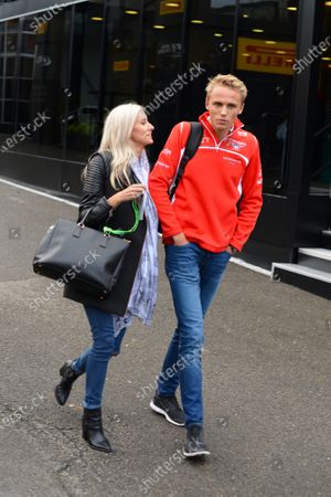 Max Chilton (GBR) Marussia F1 Team with his girlfriend Chloe Roberts (GBR). Formula One World Championship, Rd12, Belgian Grand Prix, Qualifying, Spa-Francorchamps, Belgium, Saturday 23 August 2014.