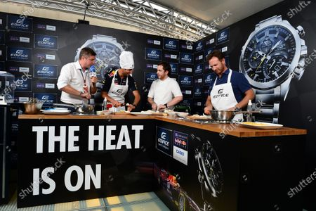 Daniel Ricciardo (AUS) Red Bull Racing and Christian Horner (GBR) Red Bull Racing Team Principal at a Casio Cook Off event with Tom Sellers (GBR) Chef. Formula One World Championship, Rd13, Italian Grand Prix, Monza, Italy, Preparations, Thursday 4 September 2014.