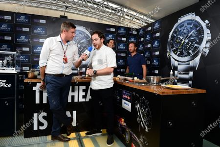 Daniel Ricciardo (AUS) Red Bull Racing, Christian Horner (GBR) Red Bull Racing Team Principal, David Croft (GBR) Sky TV Commentator at a Casio Cook Off event with Tom Sellers (GBR) Chef. Formula One World Championship, Rd13, Italian Grand Prix, Monza, Italy, Preparations, Thursday 4 September 2014.