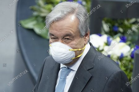Stock Picture of Antonio Guterres. Special session of the German Bundestag on 75 years of the United Nations with UN Secretary General Guterres