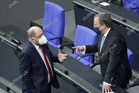 Armin Laschet and Martin Schulz. Special session of the German Bundestag on 75 years of the United Nations with UN Secretary General Guterres