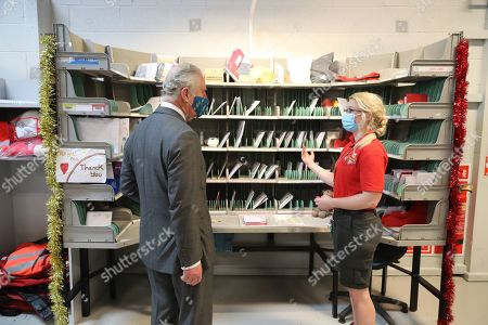Editorial photo of Prince Charles visits Royal Mail's Delivery Office, Cirencester, UK - 18 Dec 2020