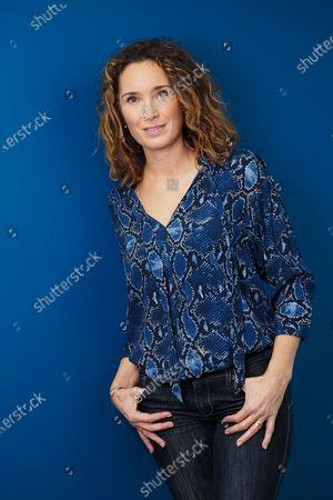 Marie-Sophie Lacarrau posing at TF1.