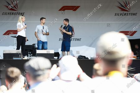 Guy Martin talks to Jenson Button on stage.