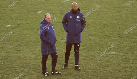 Stock Image of Schalke's new interim head coach Huub Stevens (L) and assistant coach Naldo (R) lead their team's training session in Gelsenkirchen, Germany, 18 December 2020. German Bundesliga soccer club FC Schalke 04 on early 18 December 2020 announced that it has parted ways with coach Manuel Baum. In the last two matches of the year, Dutchman Huub Stevens will be in charge of the team together with ex-professional Mike Bueskens, who will act as assistant coach.