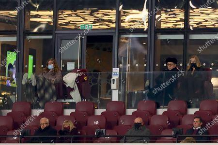 Vice-chairman of West Ham United, Karren Brady (L) watches on with Joint chairman of West Ham United, David Sullivan (R) and partner, Emma Benton-Hughes