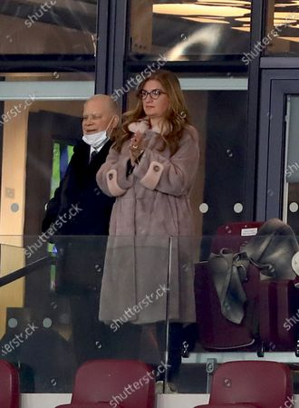 Vice-chairman of West Ham United, Karren Brady and Joint chairman of West Ham United, David Gold are seen at full time