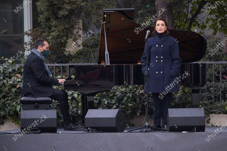 Singer Luz Casal attends the inauguration of the Monument in Memory to late Health Workers during the Covid-19 pandemic at Plaza de los Sagrados Corazones