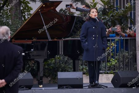 Stock Image of Singer Luz Casal attends the inauguration of the Monument in Memory to late Health Workers during the Covid-19 pandemic at Plaza de los Sagrados Corazones
