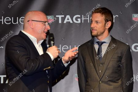 (L to R): Stephane Linder, CEO of TAG Heuer and Jenson Button (GBR) McLaren at the unveiling of the TAG Heuer watch collection. Formula One World Championship, Rd19, Abu Dhabi Grand Prix, Qualifying, Yas Marina Circuit, Abu Dhabi, UAE, Saturday 22 November 2014.