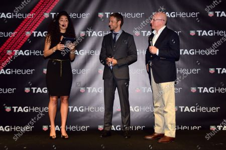 Stock Image of Stephane Linder, CEO of TAG Heuer, right, and Jenson Button (GBR) McLaren, centre, at the unveiling of the TAG Heuer watch collection. Formula One World Championship, Rd19, Abu Dhabi Grand Prix, Qualifying, Yas Marina Circuit, Abu Dhabi, UAE, Saturday 22 November 2014.