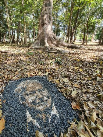 Justin Bateman's portrait of David Attenborough made from pebbles.  A British artist stuck in Thailand has spent his time constructing masterpieces from pebbles for locals to enjoy. Justin Bateman had only planned on staying in Chiang Mai for a week - but has remained there now for nearly ten months after the pandemic struck.   His pebble portraits include The Queen, Spanish painter Pablo Picasso, Michelangelo's David and a local farmer - who was bemused by his portrait. Mr Bateman, from Portsmouth, Hants, was staying in Bali when he travelled to Chiang Mai, in Thailand, to visit some friends.