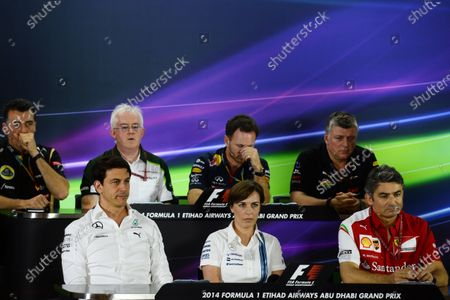 (L to R): Federico Gastaldi (ARG) Lotus F1 Team Deputy Team Principal, Finbarr O'Connell (GBR) Caterham F1 Team Administrator, Christian Horner (GBR) Red Bull Racing Team Principal, Otmar Szafnauer (USA) Force India Formula One Team Chief Operating Officer,toto, Claire Williams (GBR) Williams Deputy Team Principal and Marco Mattiacci (ITA) Ferrari Team Principal in the Press Conference. Formula One World Championship, Rd19, Abu Dhabi Grand Prix, Practice, Yas Marina Circuit, Abu Dhabi, UAE, Friday 21 November 2014.