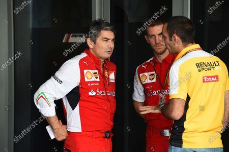 Marco Mattiacci (ITA) Ferrari Team Principal talks to Cyril Abiteboul (FRA) Renault Sport. Formula One World Championship, Rd19, Abu Dhabi Grand Prix, Qualifying, Yas Marina Circuit, Abu Dhabi, UAE, Saturday 22 November 2014.