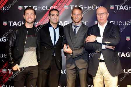Jenson Button (GBR) McLaren, centre right, and Stephane Linder, CEO of TAG Heuer, right, at the unveiling of the TAG Heuer watch collection. Formula One World Championship, Rd19, Abu Dhabi Grand Prix, Qualifying, Yas Marina Circuit, Abu Dhabi, UAE, Saturday 22 November 2014.