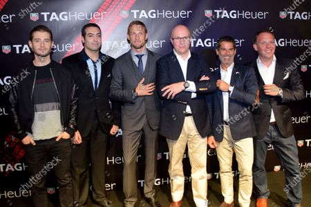 Jenson Button (GBR) McLaren, centre, left, and Stephane Linder, CEO of TAG Heuer, centre right, at the unveiling of the TAG Heuer watch collection. Formula One World Championship, Rd19, Abu Dhabi Grand Prix, Qualifying, Yas Marina Circuit, Abu Dhabi, UAE, Saturday 22 November 2014.