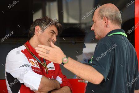 Marco Mattiacci (ITA) Ferrari Team Principal talks with Geraldo Rodrigues (BRA). Formula One World Championship, Rd18, Brazilian Grand Prix, Qualifying, Sao Paulo, Brazil, Saturday 8 November 2014.