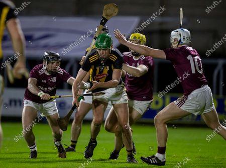 Galway vs Kilkenny. Galway's Mark Kennedy, Adam Brett and Conor Walsh with Martin O'Neill of Kilkenny