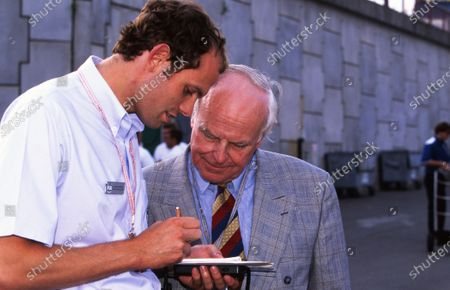 Sid Watkins (GBR) FIA Doctor with his son Alistair Watkins (GBR). Formula One World Championship, Belgian Grand Prix, Rd13, Spa-Francorchamps, Belgium. 25 August 1996.