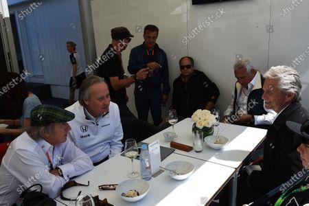 Sir Jackie Stewart (GBR), Mansour Ojjeh (KSA) TAG and Michael Douglas (USA) Actor at Formula One World Championship, Rd7, Canadian Grand Prix, Qualifying, Montreal, Canada, Saturday 6 June 2015.
