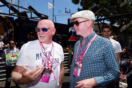 Sir Tom Hunter (GBR) Entrepanueur with Chris Evans (GBR) on the grid at Formula One World Championship, Rd6, Monaco Grand Prix Race, Monte-Carlo, Monaco, Sunday 24 May 2015.