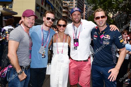 (L to R): Felix Baumgartner (AUT), Michael Fassbender (GER) Hollywood Actor and his girlfriend Alicia Vikander with Jamie Roberts (GBR) Rugby Player on the grid at Formula One World Championship, Rd6, Monaco Grand Prix Race, Monte-Carlo, Monaco, Sunday 24 May 2015. BEST IMAGE