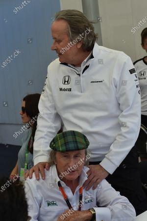 Sir Jackie Stewart (GBR) and Mansour Ojjeh (KSA) TAG at Formula One World Championship, Rd7, Canadian Grand Prix, Qualifying, Montreal, Canada, Saturday 6 June 2015.
