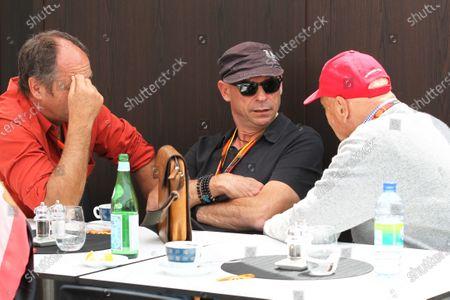 Gerhard Berger (AUT), Guy Laliberte (CDN) Cirque de Soleil and Niki Lauda (AUT) Mercedes AMG F1 Non-Executive Chairman at Formula One World Championship, Rd7, Canadian Grand Prix, Race, Montreal, Canada, Sunday 7 June 2015.