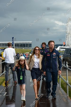 Gerri Halliwell (GBR) with daughter Bluebell and Christian Horner (GBR) Red Bull Racing Team Principal at Formula One World Championship, Rd9, British Grand Prix, Race, Silverstone, England, Sunday 5 July 2015.