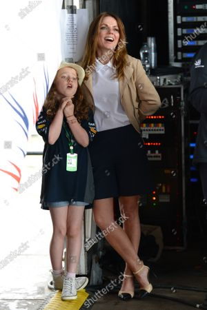 Gerri Halliwell (GBR) with daughter Blue Bell (GBR) at Formula One World Championship, Rd9, British Grand Prix, Race, Silverstone, England, Sunday 5 July 2015.
