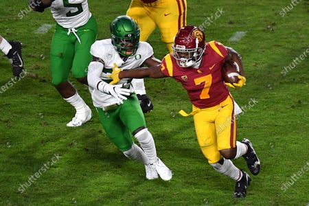 Stock Image of Los Angeles, CA.USC Trojans running back Stephen Carr #7 runs in action during the first quarter the Pac-12 Championship NCAA Football game between the USC Trojans and the Oregon Ducks at the Coliseum in Los Angeles, California..Mandatory Photo Credit: Louis Lopez/CSM