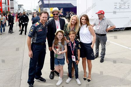Christian Horner (GBR) Red Bull Racing Team Principal, Will Young (GBR), Emma Bunton (GBR)  and Geri Halliwell (GBR) with with daughter Bluebell and their children at Formula One World Championship, Rd9, British Grand Prix, Race, Silverstone, England, Sunday 5 July 2015.