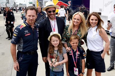 Christian Horner (GBR) Red Bull Racing Team Principal, Will Young (GBR), Emma Bunton (GBR)  and Geri Halliwell (GBR) with with daughter Bluebell and their children at Formula One World Championship, Rd9, British Grand Prix, Race, Silverstone, England, Sunday 5 July 2015. BEST IMAGE