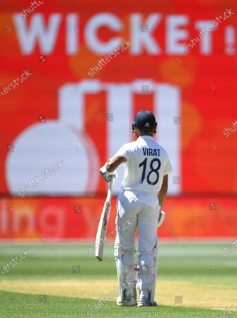Indian captain Virat Kohli is seen after his dismissal by Australian bowler Pat Cummins during day three of the first Test Match between Australia and India at Adelaide Oval, Adelaide, Australia, 19 December 2020.