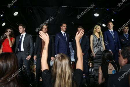 Stoffel Vandoorne (BEL) McLaren, Roberto Merhi (ESP) Manor GP, Adrian Sutil (GER) Williams Reserve Driver, Carmen Jorda (ESP) Lotus F1 Development Driver, Raffaele Marciello (ITA) Sauber and Pierre Gasly (FRA) DAMS at Amber Lounge Fashion Show at Formula One World Championship, Rd17, Mexican Grand Prix, Practice, Circuit Hermanos Rodriguez, Mexico City, Mexico, Friday 30 October 2015. BEST IMAGE