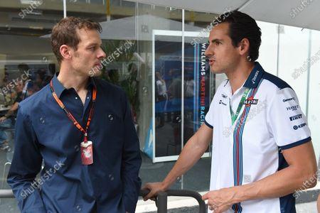 Alex Wurz (AUT) Williams Driver Coach and Adrian Sutil (GER) Williams Reserve Driver at Formula One World Championship, Rd18, Brazilian Grand Prix, Qualifying, Interlagos, Sao Paulo, Brazil, Saturday 14 November 2015.