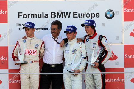 The podium (L to R): Come Ledogar (FRA) Eifelland Racing, second; Dr Mario Theissen (GER) BMW; Robin Frijns (NED) Josef Kaufmann Racing, race winner;  Hannes Van Asseldonk (NED) Josef Kaufmann Racing, third. Formula BMW Europe, Rds 12 & 13, Monza, Italy, 10-12 September 2010.