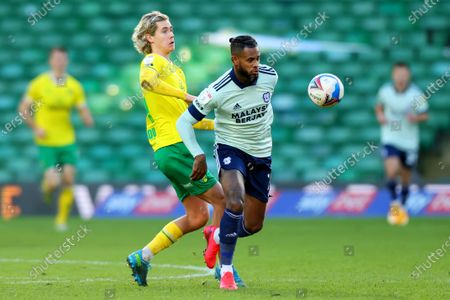 Leandro Bacuna of Cardiff City under pressure from Todd Cantwell of Norwich City; Carrow Road, Norwich, Norfolk, England, English Football League Championship Football, Norwich versus Cardiff City.